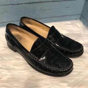 Cole Haan Black Patent Leather Penny Loafers